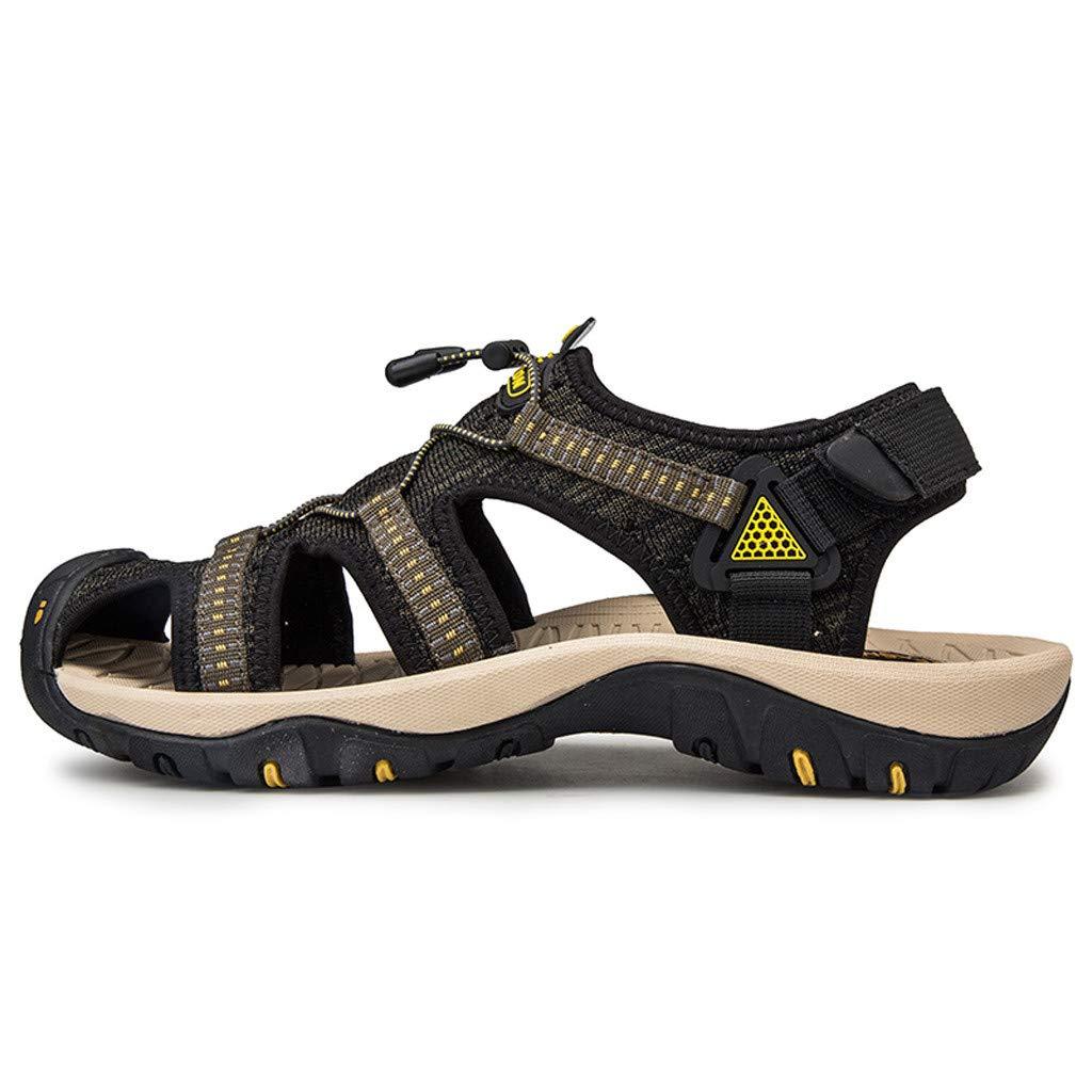 Mens Closed Toe Sandals Summer Casual Fisherman Waterproof Cutout Outdoor Water Shoes (US:7, Green)