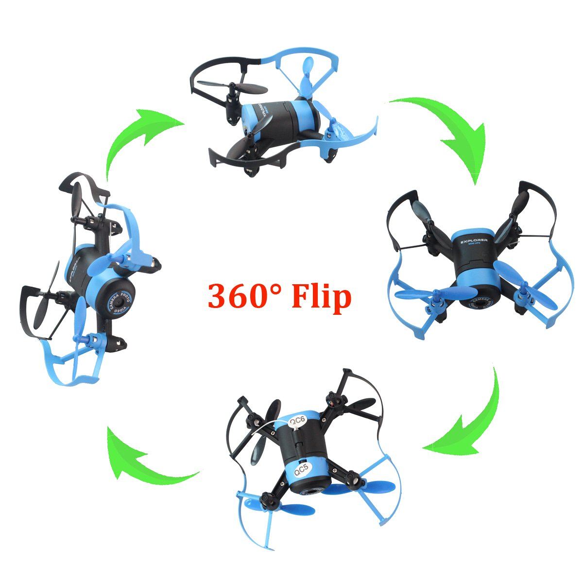 Fistone RC Drone Quadcopter Remote Control Aircraft 2.4G Built-in 6-Axis Gyro Wifi Camera for Iphone Android Mini RC Helicopter Real-Time Video HD Camera with Headless Mode Blue