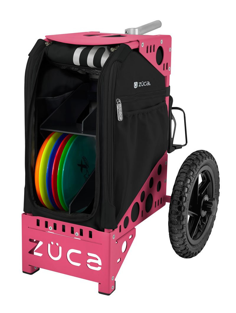 ZÜCA DELUXE DISC GOLF CART ONYX/PINK with Rack and Black Accessory Pouch