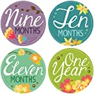 "Original Stick'Nsnap(TM) 12 ""Flowers Blooms"" Pastel milestones monthly growth stickers. 3.25'' inch diameter. To put on bodysuit creeper bibs bottoms or ONESIE. Pastel colors. - Best Shower Gift!"