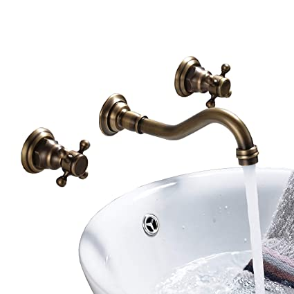 Rozin Bathroom 2 Knobs Widespread Basin Faucet Wall Mounted 3 Holes