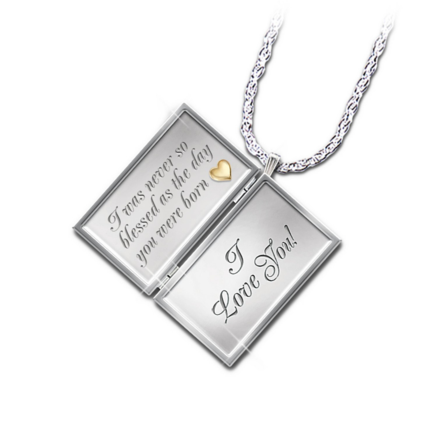 Dear Daughter Letter Of Love Engraved Diamond Locket Necklace by The Bradford Exchange