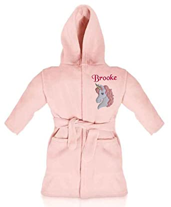 238bd6a2f Oh Sew Simple Magical Unicorn Personalised Super Soft Fleece Dressing Gown/ Bathrobe (Baby Pink): Amazon.co.uk: Clothing