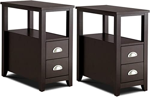 Giantex End Table Wooden W/ 2 Drawers and Shelf Space-Saving Rectangular Bedside Table