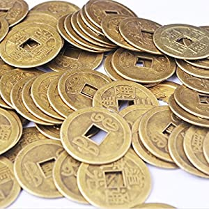 50pcs Fengshui Fortune Chinese Coins Lucky Swaps Feng Shui Coin Swaps for Geocache Geocaching Swaps Antique Metal