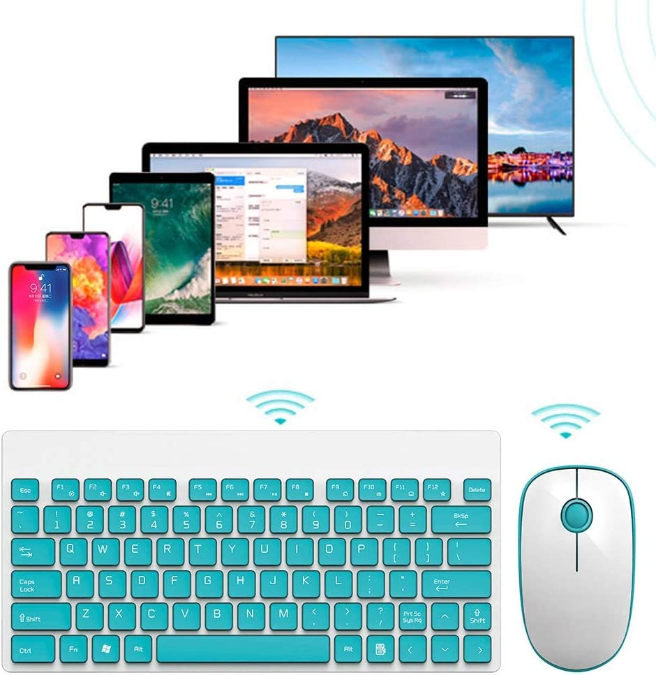Multimedia White+Green 2.4ghz 20M Multimedia Keyboard and Mouse Set Wireless with Mute 90 Keys Tosuny Wireless Silent Keyboard and Mouse Combo