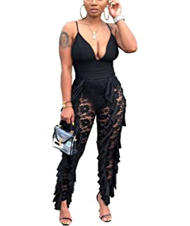 cnFaClu Womens Ruffles Sleeveless Deep V-Neck Backless Solid Color Rompers Jumpsuit Overalls