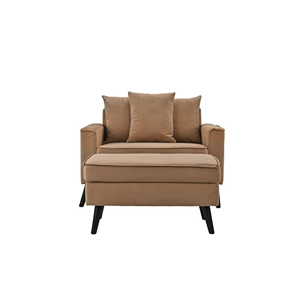 Mid-Century Modern Living Room Large Accent Chair with Footrest/Storage Ottoman (Brown)