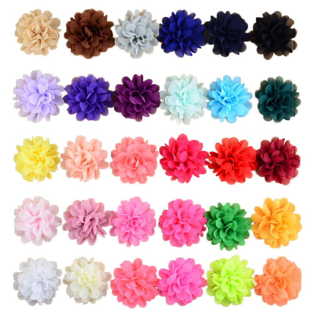 PET SHOW 30pcs/Pack 2.8'' Plain Pet Puppies Collar Flowers Bows Attachment Small Medium Large Dogs Cats Collar Charms Accessories Slides