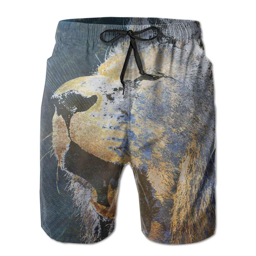 Mens Quick Dry Beach Shorts Abstract Lion Floral Boardshorts Swim Surf Trunks