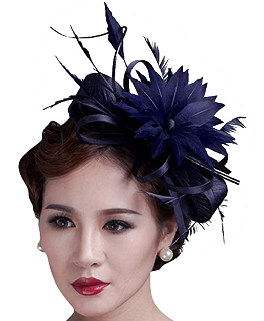 ee013d51 Sinamay Fascinator Hat Feather Party Pillbox Hat Flower Derby Hat for Women  (Z Blue) at Amazon Women's Clothing store: