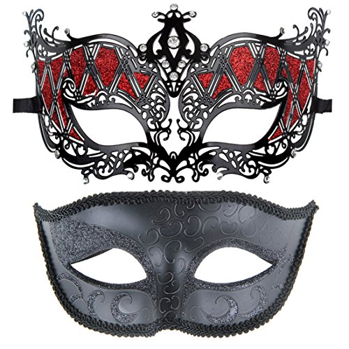 Couples Pair Half Venetian Masquerade Ball Masks Party Costume Accessory (Holiday Themed Costumes)