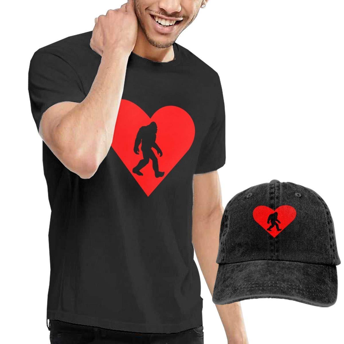 QQWBB Bigfoot Heart T-Shirts Short Sleeve Denim Hat Men