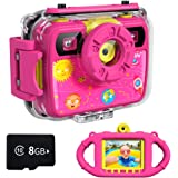 Ourlife Kids Camera, Selfie Kids Waterproof Digital Cameras for Kids 1080P 8MP 2.4 Inch Large Screen with 8GB SD Card…