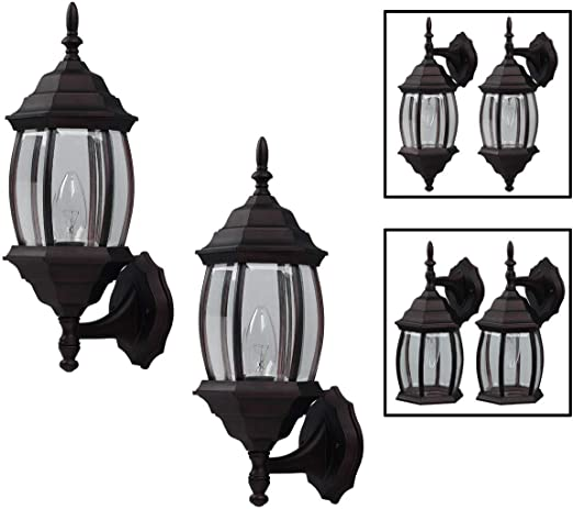 Outdoor Exterior Lantern Light Fixture Wall Sconce Twin Pack Oil Rubbed Bronze