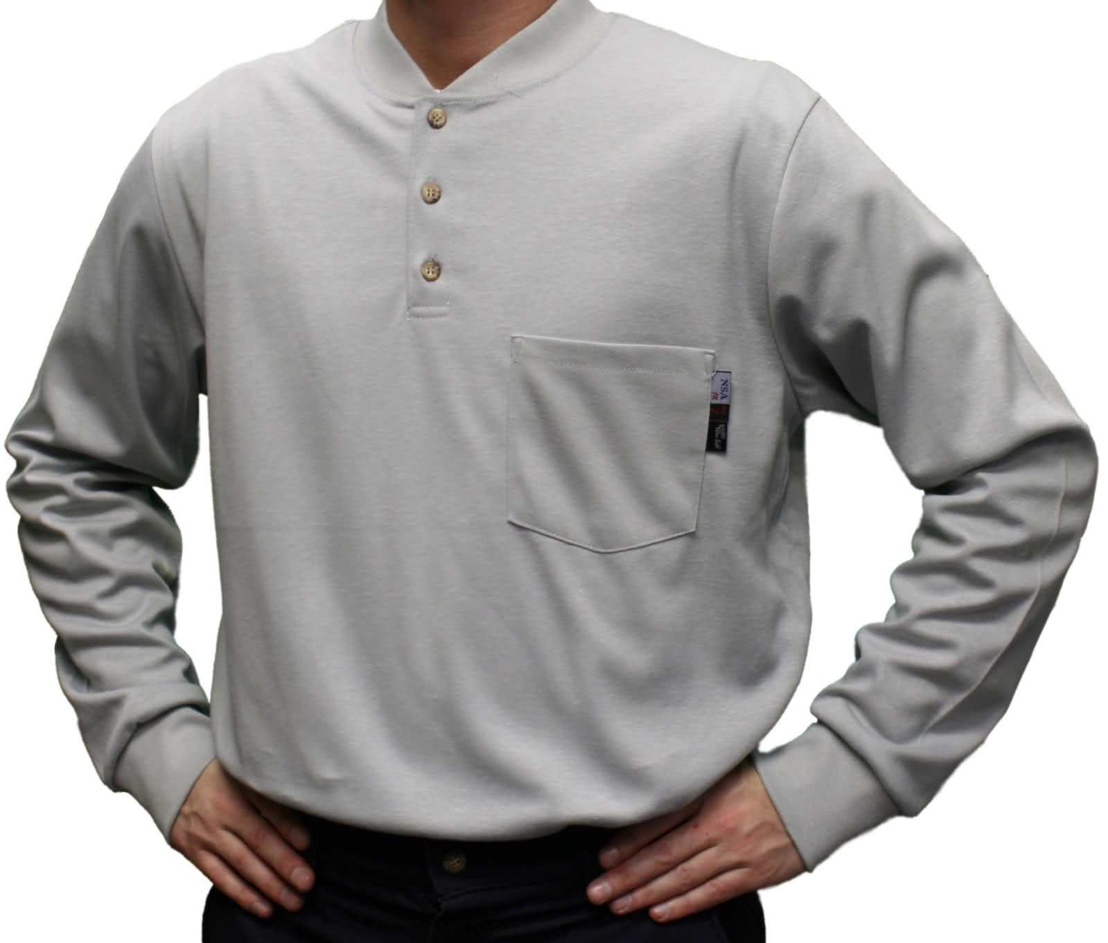 National Safety Apparel C54PGBSLSLG Flame Resistant Classic Cotton Long Sleeve Henley Shirt, Large, Gray