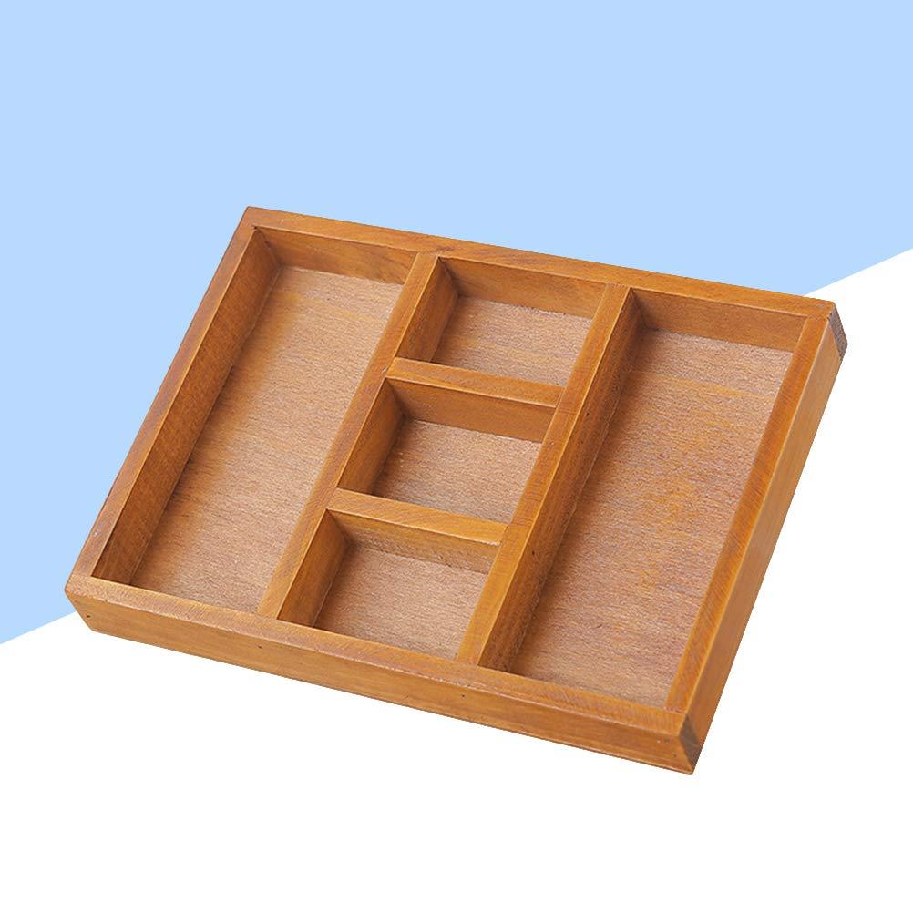 Topbathy Cassetto Portaposate In Legno Con 5 Scomparti Portaposate Posate Vassoio Portaoggetti Tavolo Da Pranzo Cassetto Organizzatore Vassoi Portaposate
