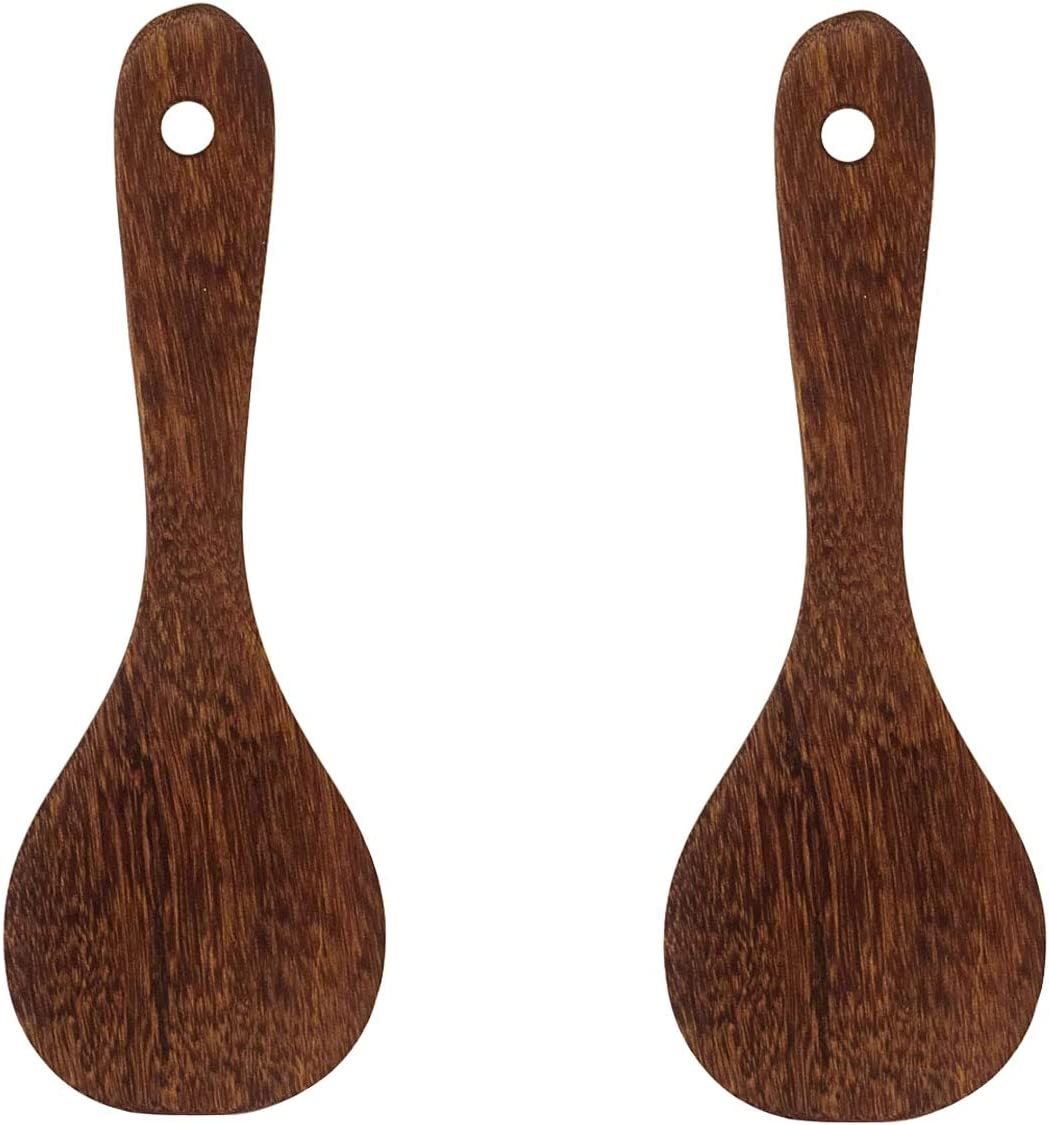 Honbay 2PCS Wooden Rice Spoon Rice Paddle Rice Cooker Spatula Kitchen Cooking Spoons for Kitchen (round head)