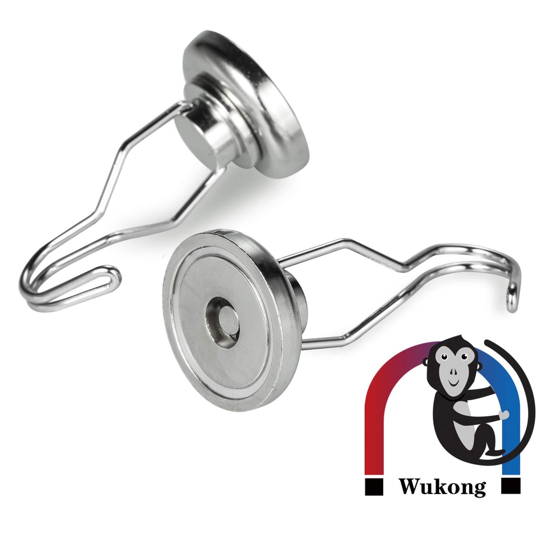 18 kg 1 St/ück h/ält max starke robuste Aufh/ängung Wukong 8 St/ück Drehbarer starker magnetischer Haken 25 mm Durchmesser