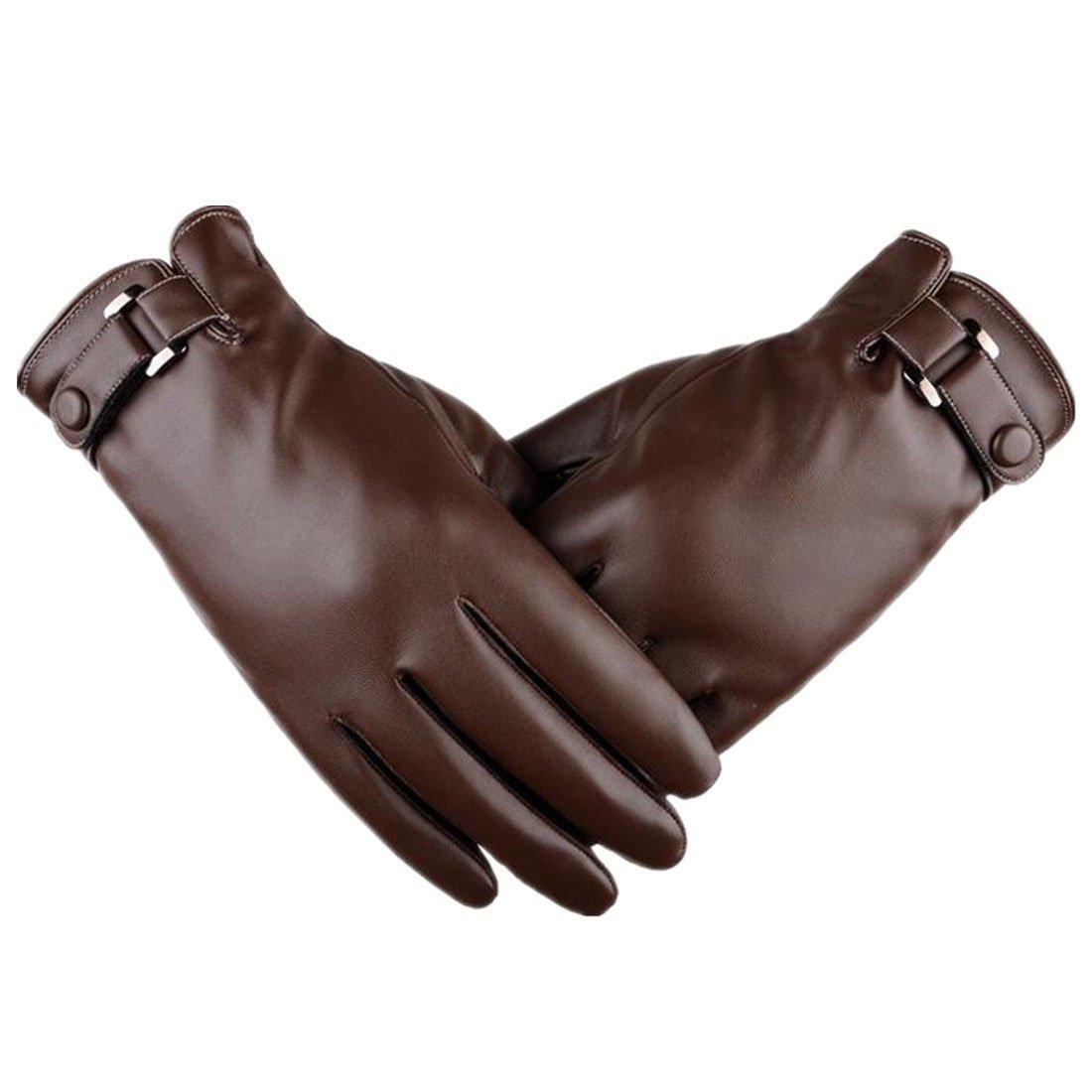 Yingniao Men's Touchscreen Winter Driving Leather Gloves Warm Fleece Lining YN6111703-2