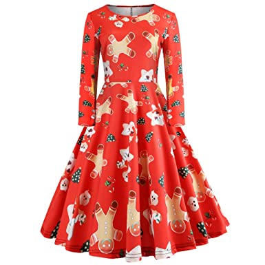idwza womens vintage christmas long sleeve print gown evening party dress skirtsred - Vintage Christmas Dress