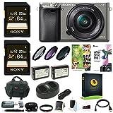 Sony Alpha a6000 Camera w/ 16-50mm Lens, Two 64GB SD Card Bundle - Graphite