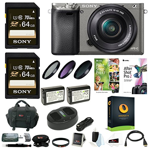 Sony Alpha a6000 Camera w/ 16-50mm Lens, Two 64GB SD Card Bundle - Graphite