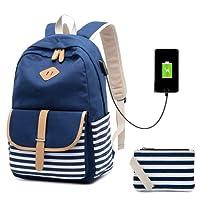 Netchain Mochila Escolares Mujer Mochila de Lona Canvas Backpack Laptop Mochila para Ordenador Portátil 15.6 Pulgadas, USB Charging Port