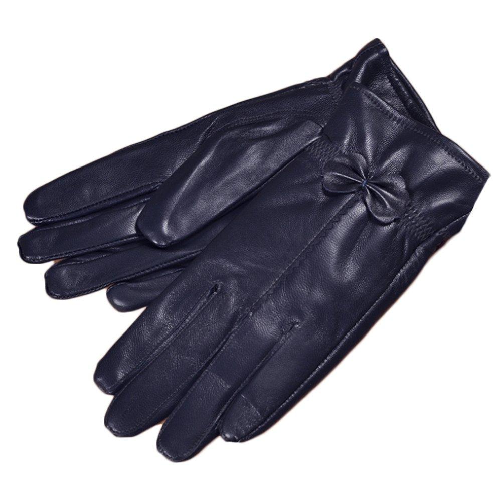 SZTARA Women Leather Gloves Lady Warm Autumn Winter Cashmere Mitten Riding Gloves Navy Blue
