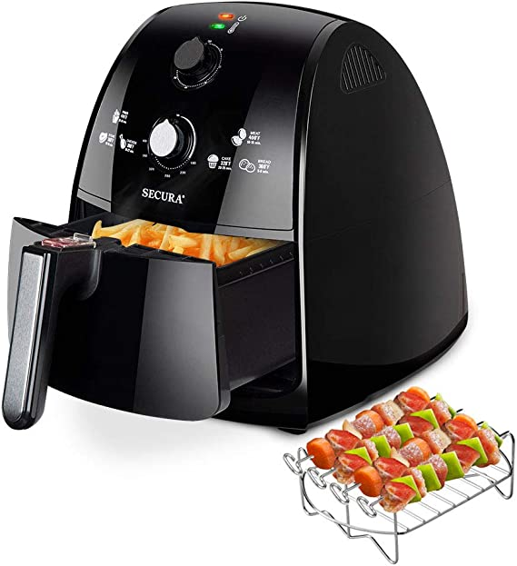 Secura Air Fryer 4.2Qt / 4.0L 1500-Watt Electric Hot XL Air Fryers Oven Oil Free Nonstick Cooker w/Additional Accessories, Recipes, BBQ Rack & Skewers ...