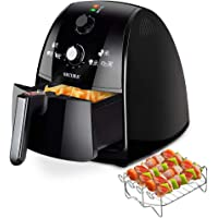 Secura 4 Liter, 4.2 Qt., Extra Large Capacity 1500 Watt Electric Hot Air Fryer and Additional Accessories, Recipes,Toaster Rack and Skewers