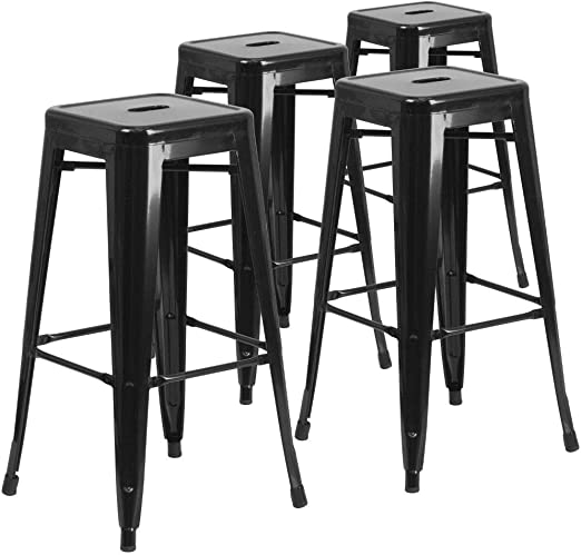 30/'/' Counter Height Bar stool Indoor Outdoor Square Seat Top Set of 4 Black