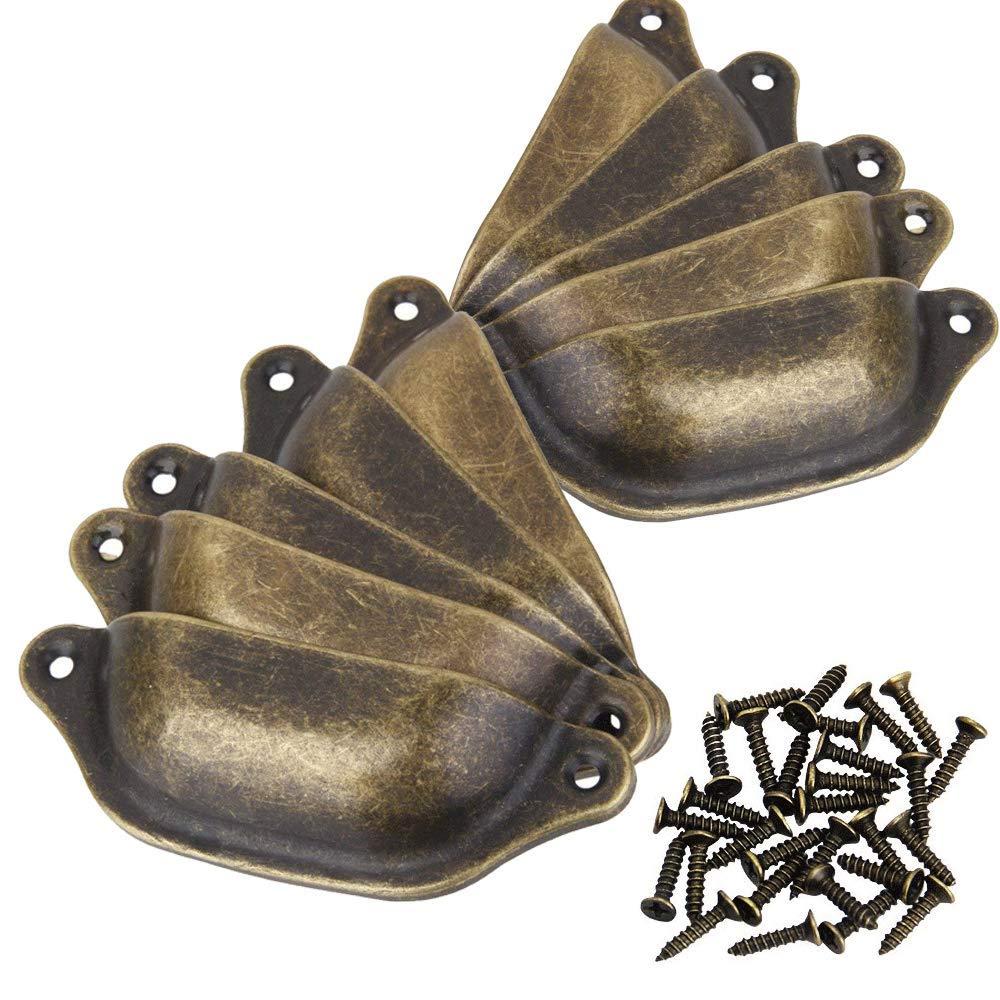 10 Pcs Rétro Poignées de Coquille 98mm pour Tiroir Armoire Meuble, Bouton de Porte en Métal de Placard,Bronce