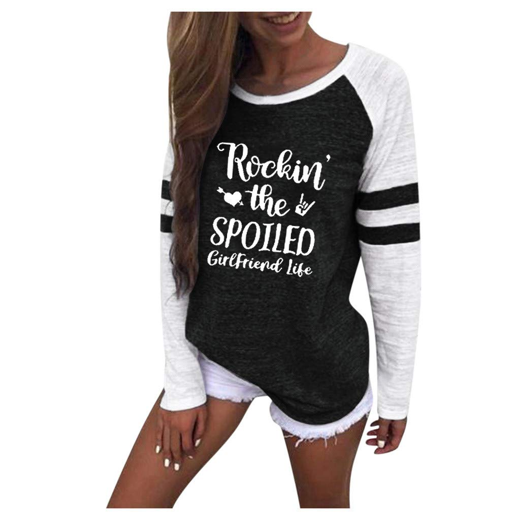 2019 New Womens Blouse Ladies O-Neck Long Sleeve Rockin The Spoiled girlfirend Life Print Splice Tops T-Shirts
