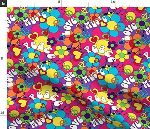 1960's Psychedelic Colors Fabric - Hippie Peace Daisy