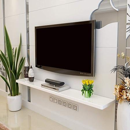 Mueble TV de Pared Pure Color Estante for TV montado en la Pared Soporte de TV Flotante Estantes del Reproductor de DVD Consola de Medios de TV Wall Cabniet Cable Enrutador Estante: