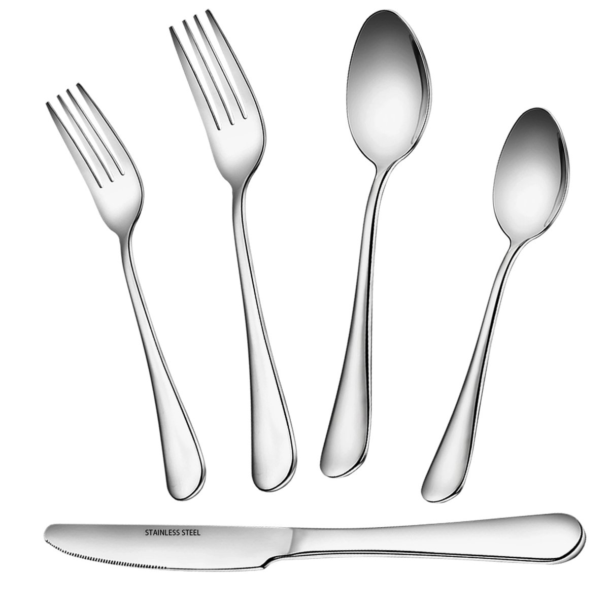 Flatware Set, 5 Piece Stainless Steel Silverware Set, Umite Chef Kitchen Hotel Restaurant Tableware Cutlery Set, Include 2 Fork/2 Spoon/Knive, Mirror Finished, Dishwasher Safe
