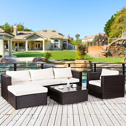 Cloud Mountain 6 Piece Rattan Wicker Furniture Set Outdoor Patio Garden Sectional Sofa Set, Dark Chocolate