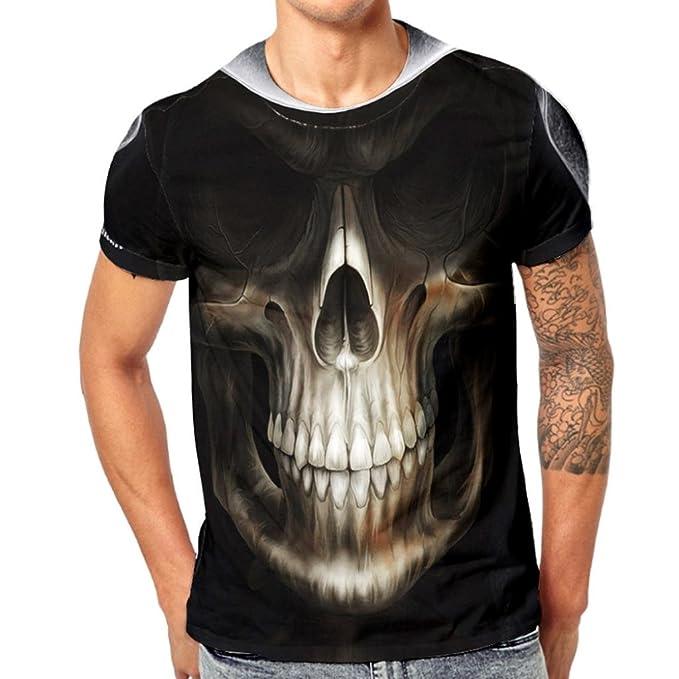 258ff5096f7f Kanpola Herren T-Shirts Slim Fit Schwarz Adler Totenkopf 3D Printing  Oversize Ländershirt Kurzarm Shirt