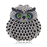 Milisente Women Evening Bag Owl Crystal Diamond Clutch Purse Party Shoulder Bag (Silver Black)