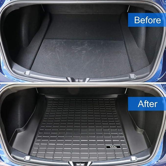 OOOUSE Tesla Model 3 TPE Car Mat Non-slip Car Carpet Mat Using for Tesla Model 3 Dustproof Odorless Scratch-resistant Washable Cargo Liner Waterproof Mat Model 3 Rear Trunk Mat