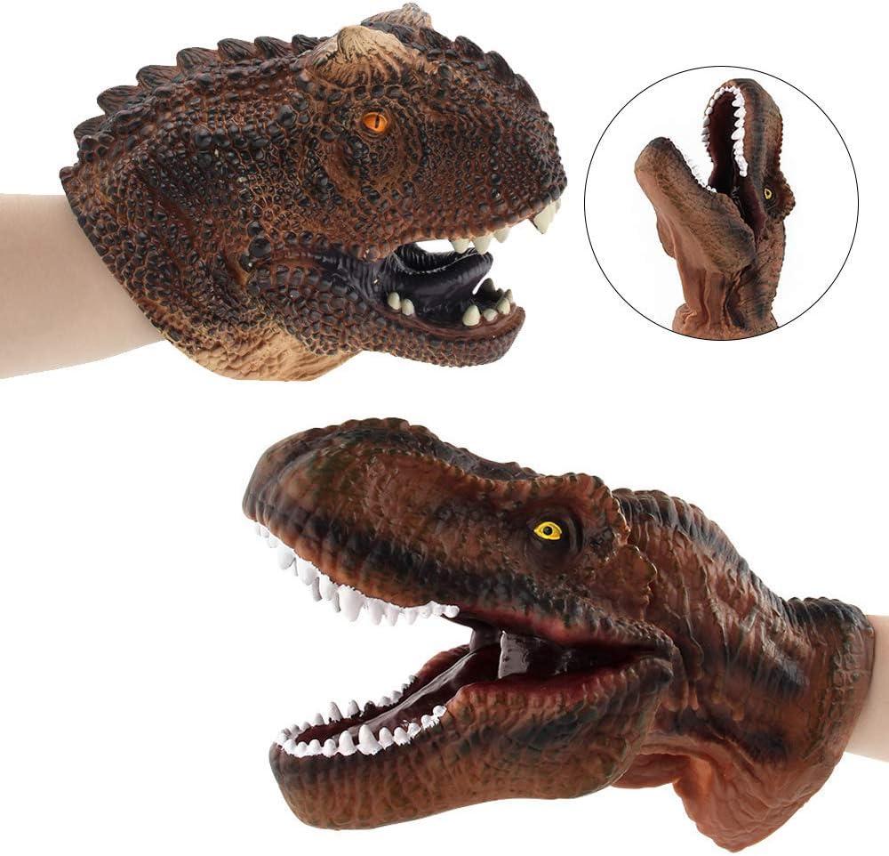 ZY 2Pcs Dinosaurio Marioneta De Mano De Los Juguetes De Goma Suave Raptor Realista Dinosaurio Actual Jefe Interactivos Manos Marionetas De Cumpleaños para El Cabrito del Niño