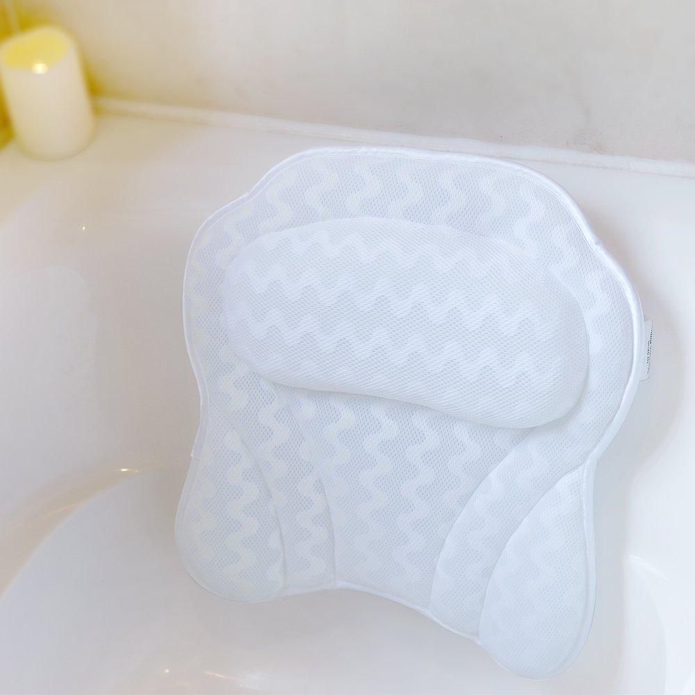 Bath Pillow Bathtub Spa Pillow, Non-slip 6 Large Suction Cups, Extra ...