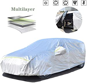 AOYMEI Full Car Cover Waterproof All Weather, Automobile Cover Sunproof Rainproof Windproof Scratch Resistant Reflective Strips Cotton Inside (Hatchback, fit Length (138''- 157''))