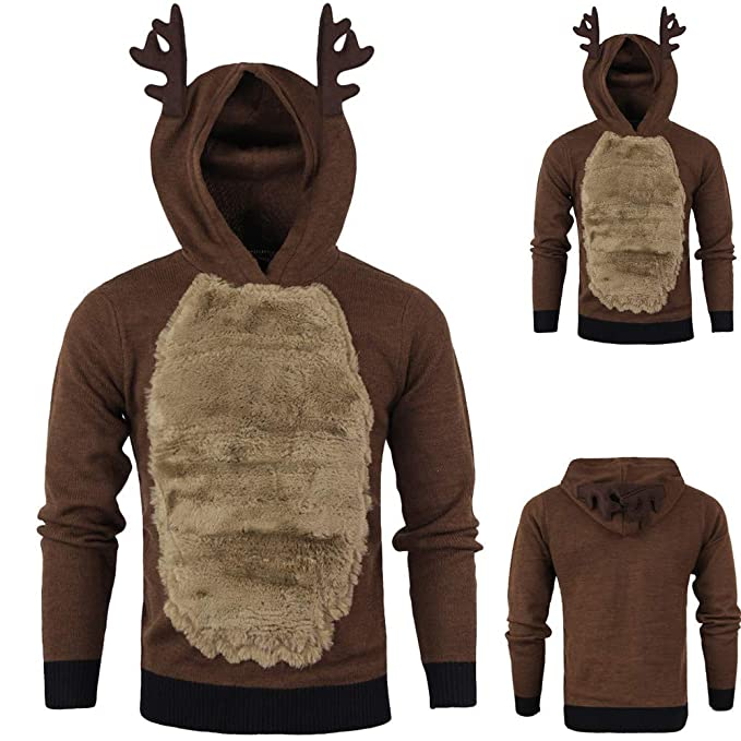 Binmer Mens Xmas Hoody Reindeer Feather Hooded Christmas Fur 3D Blouse Top