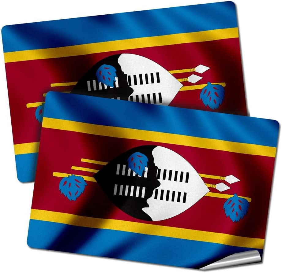 "ExpressItBest Two 2""x3"" Decals/Stickers with Flag of Swaziland - Waves - Long lasting premium quality"