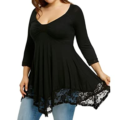 2f77c1ba257 VENMO Sexy Women Plus Size Empire Waist Lace Dressy Blouse Tops Ladies  Casual Tunic V Neck Half Sleeve Ruffle Jumper Shirt Pullover  Amazon.co.uk   Clothing