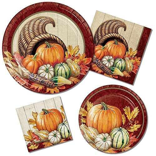 (Autumn Bounty Party Supply Pack! Bundle Includes Paper Plates & Napkins for 8 Guests in a Pumpkin Harvest)