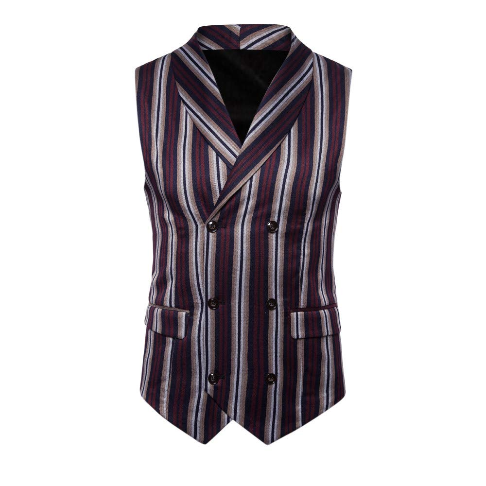 SMALLE ◕‿◕ Clearance,Men Striped Button Casual Print Sleeveless Jacket Coat British Suit Vest Blouse