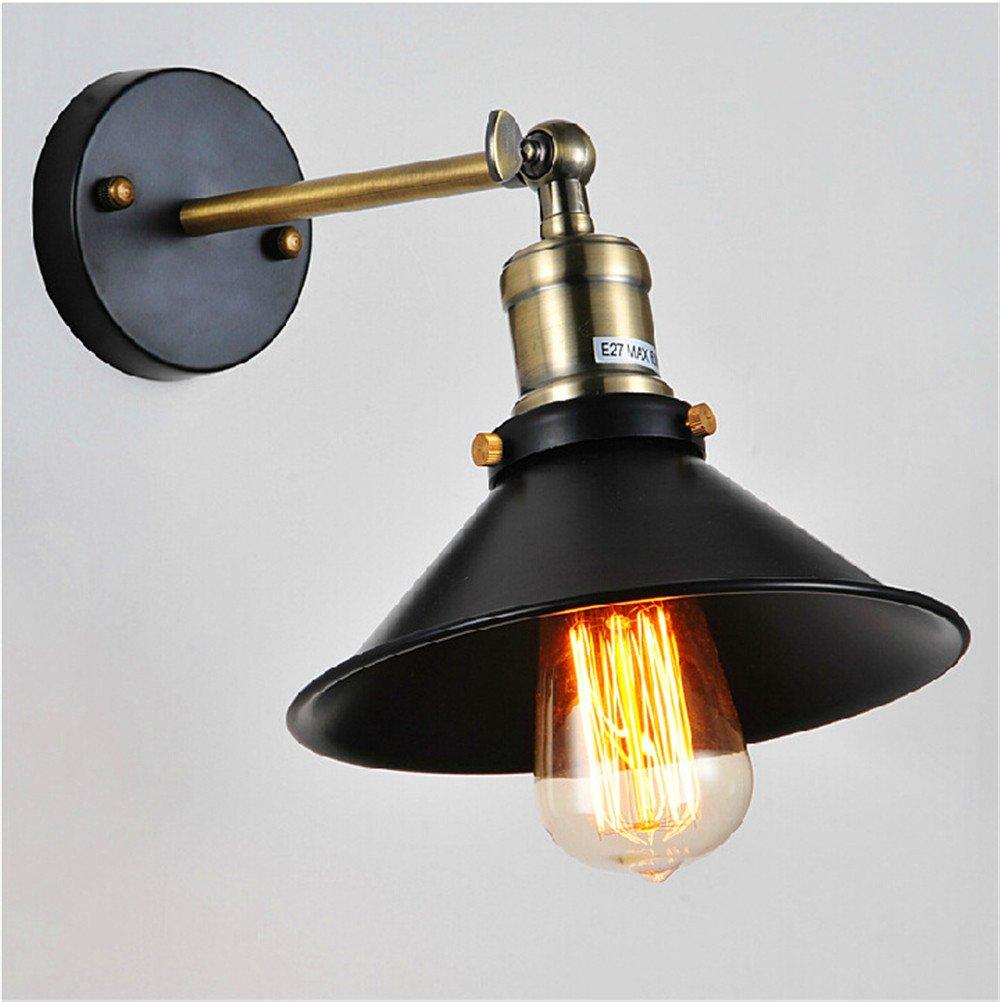 Avanthika E27 Wall Sconces Mounted Wall Lamps Retro Industrial Loft Bedroom Cafe Bar Single Wall Light Black Dance/Diameter 23Cm